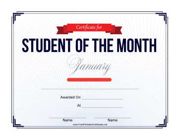 Student of the Month Certificate for January