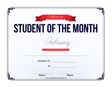 Student of the Month Certificate for February