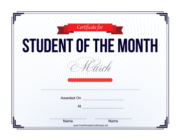 Student of the Month Certificate for March