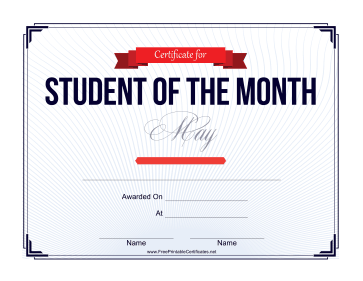 Student of the Month Certificate for May