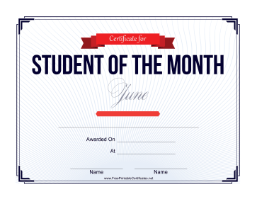 Student of the Month Certificate for June