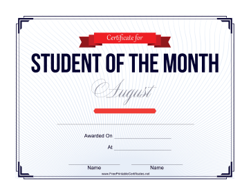 Student of the Month Certificate for August