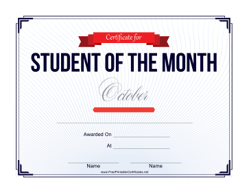 Student of the Month Certificate for October