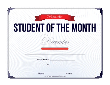 Student of the Month Certificate for December