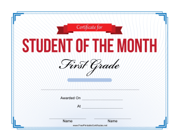 Student of the Month Certificate for First Grade