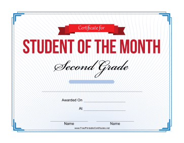 Student of the Month Certificate for Second Grade