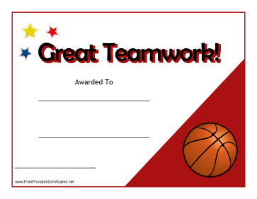 Teamwork Certificate Basketball
