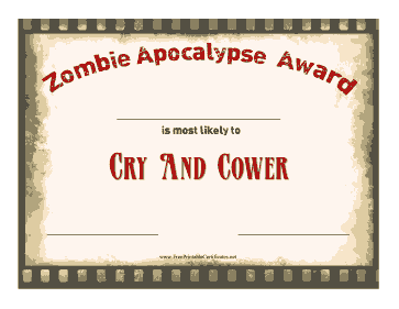 Zombie Award Cry And Cower