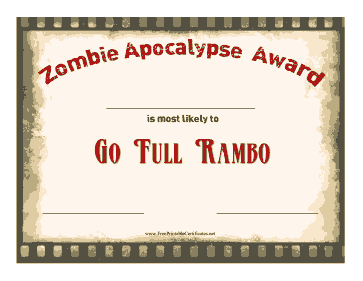 Zombie Award Full Rambo