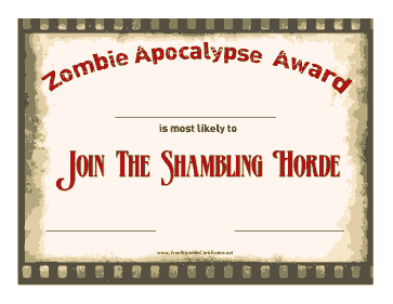 Zombie Award Join The Horde