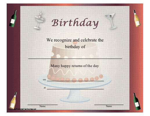 Birthday Certificate for Adults