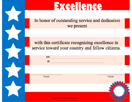 Excellence in Red White and Blue