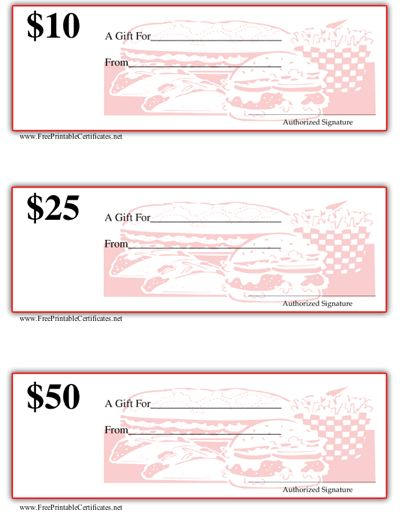 Gift Certificate - Grill/Diner
