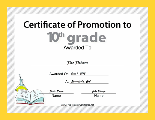 10th Grade Promotion certificate