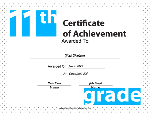 11th Grade Achievement certificate