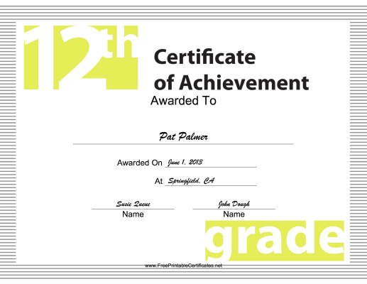12th Grade Achievement certificate