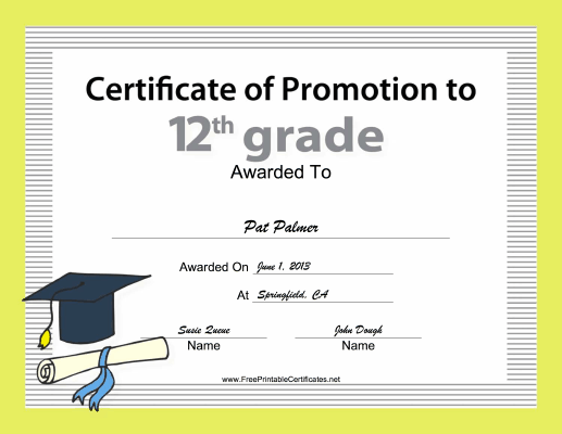 12th Grade Promotion certificate
