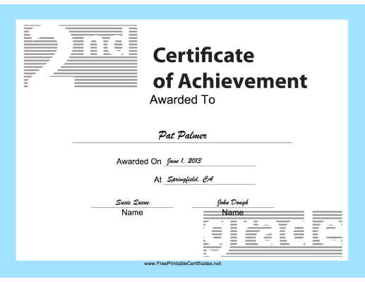 2nd Grade Achievement certificate