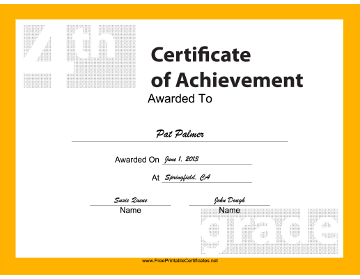 4th Grade Achievement certificate