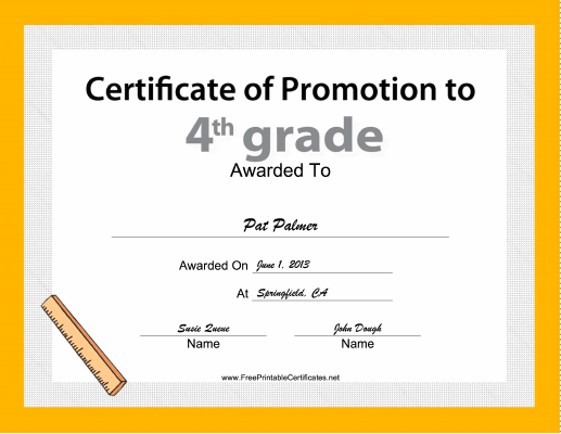 4th Grade Promotion certificate