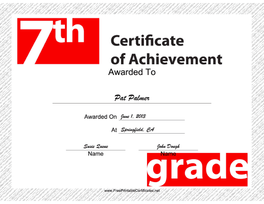 7th Grade Achievement certificate