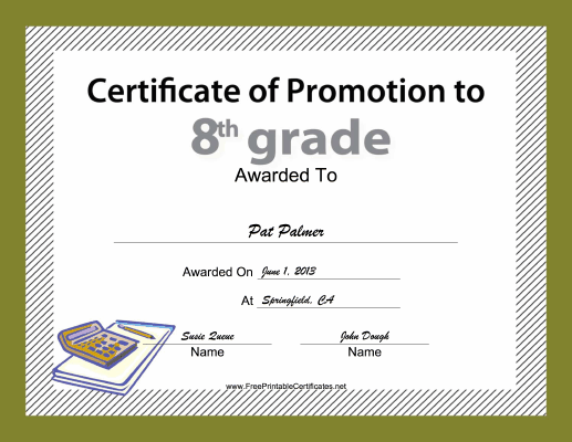 8th Grade Promotion certificate