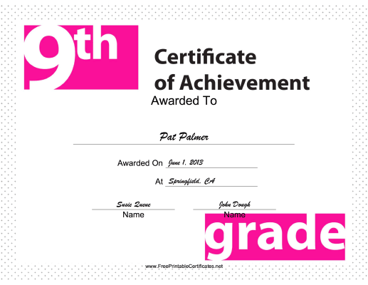 9th Grade Achievement certificate