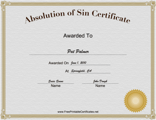 Absolution of Sin certificate