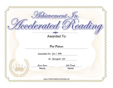 Accelerated Reading certificate