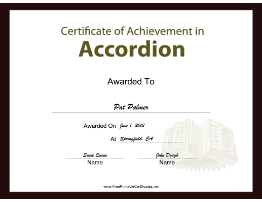 Accordion Instrumental Music certificate