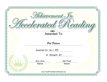 Achievement In Accelerated Reading certificate