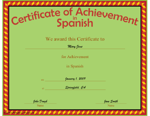 Achievement in Spanish certificate