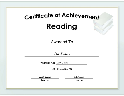Achievement in Reading certificate