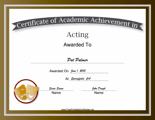 Acting Academic certificate