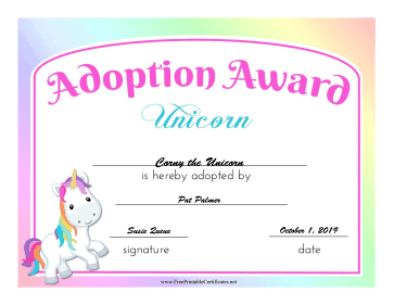 Adoption Award Unicorn certificate