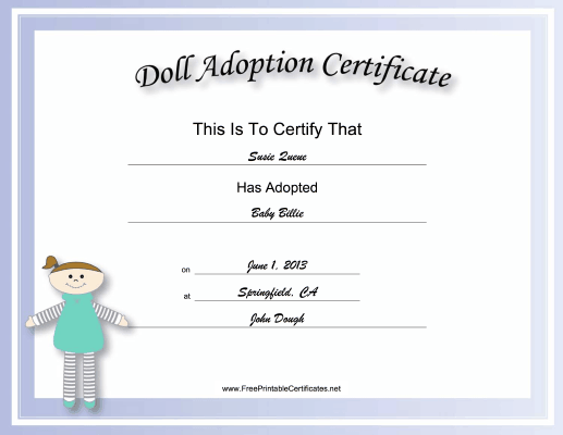 Adoption Certificate Doll Academic certificate