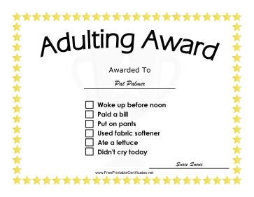 Adulting Award certificate