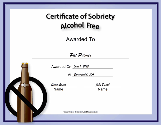 Alcohol-Free certificate