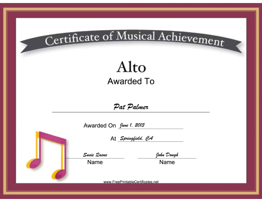 Alto Vocal Music certificate