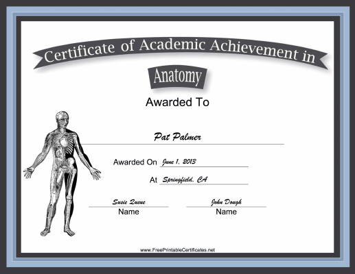 Anatomy Academic certificate