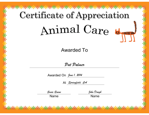 Animal Care Appreciation Cat certificate