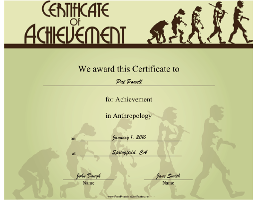 Anthropology certificate