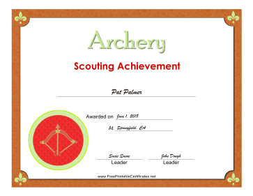 Archery Badge certificate