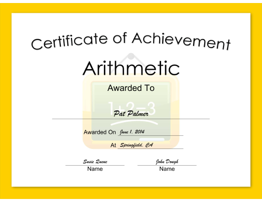 Arithmetic Achievement certificate
