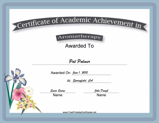 Aromatherapy Academic certificate