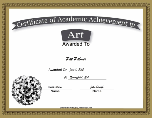 Art Academic certificate