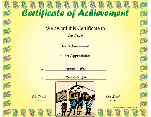 Art Appreciation certificate