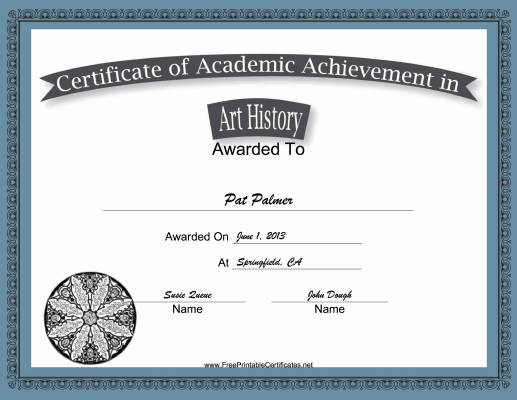 Art History Academic certificate