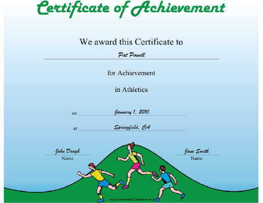 Athletics certificate