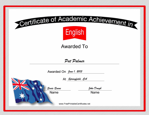 Australia English Language certificate